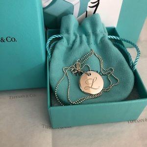 "Tiffany & Co. Notes ""L"" Disc Pendant Necklace"